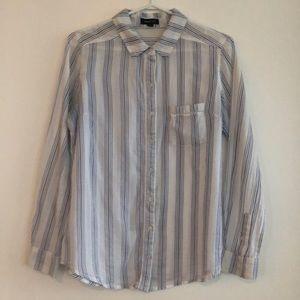 White & blue striped shirt